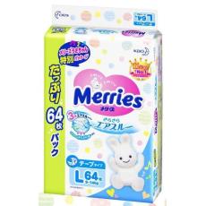 Подгузники Merries (Japan). размер L 9-14кг, 64шт мега пачка, фото 1